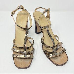 Bottega Veneta Square Bead Detail Heel Sandals